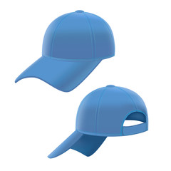 Realistic Blue Baseball Cap Set. Vector