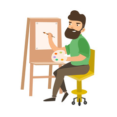 Painter Man at Work Easel Palette. Vector