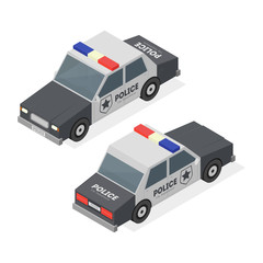 Police Car. Isometric View. Vector