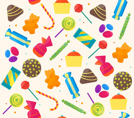 Sweet Candies Background Pattern. Vector