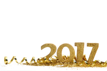 new year 2017 with golden figures in confetti and ribbon  Fotomurales