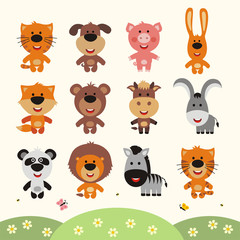 Vector set smiling animals. Collection isolated funny animals in cartoon style. Little animals: forest, farm, africa, asia