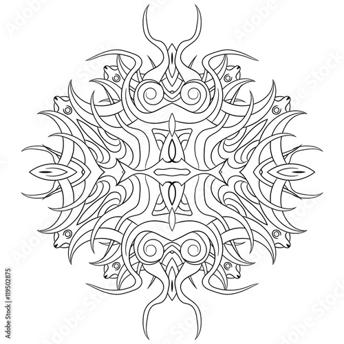 coloring, mandala with roots and sharp spikes\