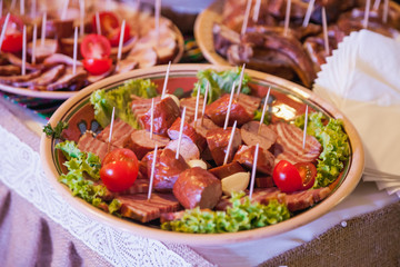 Nicely decorated meat and fruit wedding reception