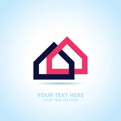 Abstract House logo, design concept, emblem, icon, flat logotype element for template.