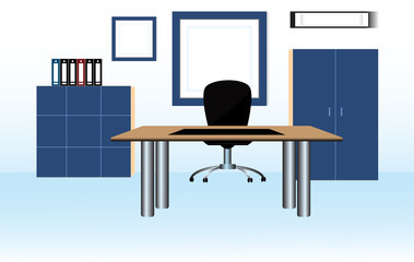 Modern office interior with designer desktop. Vector