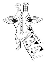 giraffe, mehndi, drawn animal, vector, eps 8