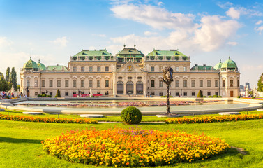 Aluminium Prints Vienna Frontal view at Belvedere palace, Vienna, Austria
