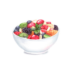 Hand drawn watercolor illustration of the food: fruit salad in the plate, isolated on the white background