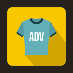 Blue t shirt with ADV inscription icon in flat style on a yellow background