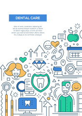 Dental Care - line design brochure poster template A4