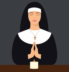 illustration of a young nun with eyes closed and hands folded in prayer. Vector illustration of woman praying