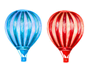 watercolor hot air balloons isolated on white