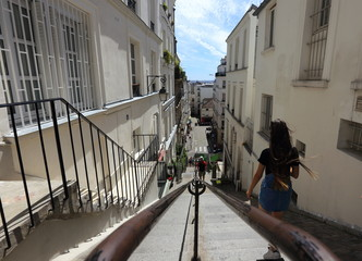 Typical staircase in Montmartre Hill, Paris, France