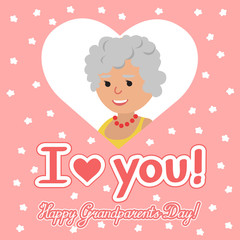 Vector illustration. Happy grandparents day. Elderly woman in heart with lettering.