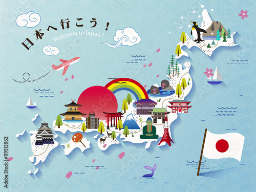 Lovely Japan travel map design\