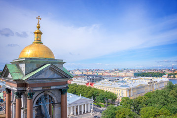 Aerial view of St Petersburg from St Isaac cathedral, Russia