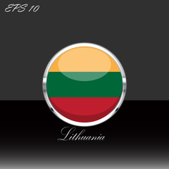 Lithuania flag isolated on black background. Lithuanian flag button in silver chrome ring. Lithuania sport competition participant. Web button, language sign, print graphic element Clip art icon