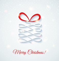 Festive card with gift box. Shine vector illustration