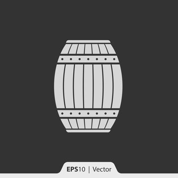 Wood barrel vector icon for web and mobile