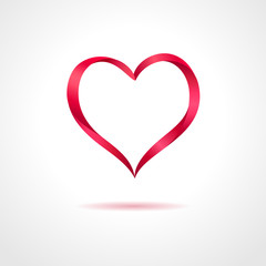 Abstract red heart on gray background. Vector creative concept