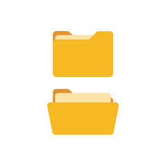 Open folder and close folder with documents. Folders icons isolated on white background. Folders set