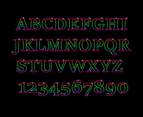 Glowing cosmic neon font.