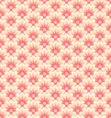Stylized asian retro seamless pattern with color flowers.