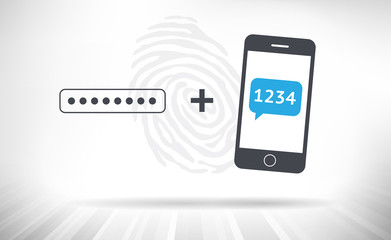 Two Step Verification. Password input field and mobile phone displaying verification code. Big fingerprint in the background