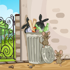 Illustration of a cartoon trash can. Happy rats playing near trash can