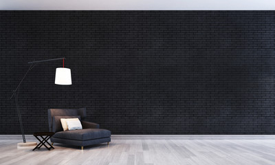 daybed and black crick wall