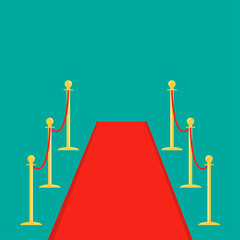 Red carpet and rope barrier golden stanchions turnstile Isolated template Green background. Flat design
