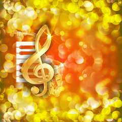 treble clef and a saxophone  piano keys bright background
