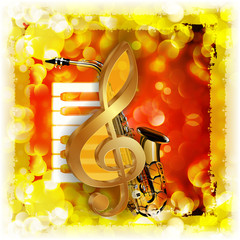 treble clef with saxophone and piano bright background