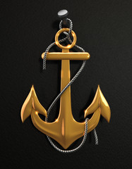 Gold anchor isolated on a black background