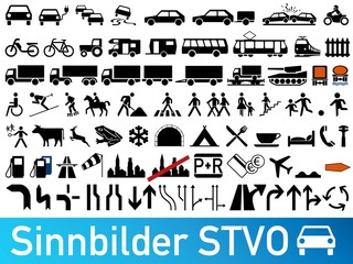 Verkehrszeichen STVO Sinnbilder Sammlung icon Set Vektor / german traffic road sign icon vector collection set