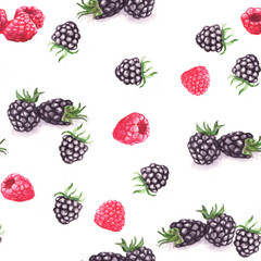 Hand drawn watercolor seamless repeated pattern with tasty berries: raspberry and blackberry
