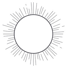 sun silhouette striped white isolated icon. Flat design. Vector illustration