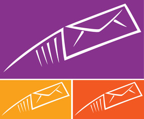 Assorted abstract images of colorful email envelopes