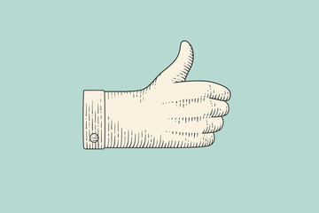 Vintage drawing of hand sign giving ok or thumbs up in engraving retro style, isolated on color background. Old drawn thumbs up for sign, information sign and navigation. Vector Illustration