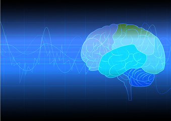 Brain with abstract technology and science of intelligence connectivity network in digital background,vector illustration