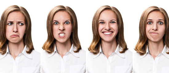 Young woman with different expressions