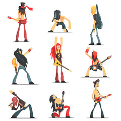 Rock Band Members Funny Characters Set