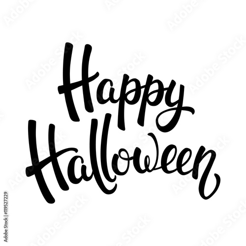 Happy Halloween brush lettering. Black letters isolated on white ...