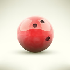 Red bowling ball isolated realictic vector illustration