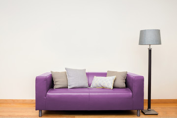 Tuxedo leather sofa in pink