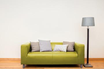 Tuxedo leather sofa in yellow / green.