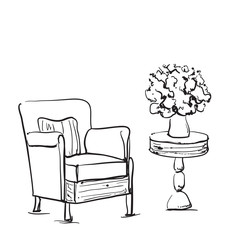 Room interior sketch. Hand drawn chair and table