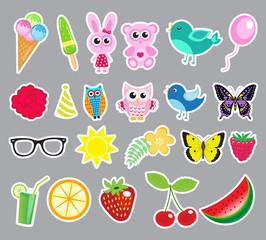 Big set of cute colorful stickers. Stikerpak fruits, animals, flowers. Sticker vector illustration