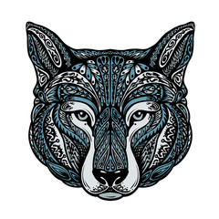 Ethnic ornamented dog or wolf. Vector illustration